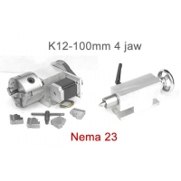 Cheap K12-100mm Chuck 4 Jaw CNC 4th Axis Hollow Shaft CNC Dividing Head For CNC Router wholesale