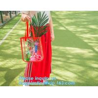 Cheap Shoulder Tote Pouch Clear PVC Beach Bag With Interior Pocket Handbag Shoulder wholesale