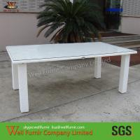 China White Square Patio Dining Tables , Leisure Cane Dining Sets on sale