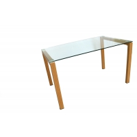 Cheap Clear OEM Tempered Glass Dining Table With 60x60mm Aluminum Plate wholesale