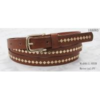 Cheap Polished Patterns Womens Fashion Belts With Gold Buckle And Square Metal Studs 1.85cm Width wholesale