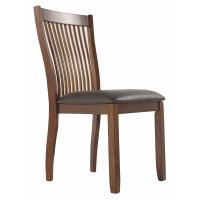 Cheap Dining Side Wooden Dining Room Chairs Comb Back Brown Base And Black Upolstered Seat wholesale