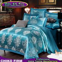 Cheap Cotton Material Lake Green Flowers Jacquard Bedsheet Duvet Cover Sets wholesale