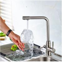 Cheap 3 Way Kitchen Gooseneck Kitchen Faucet Brass Material With Chrome Plating wholesale