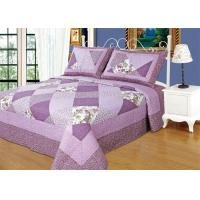 Irregular Cloud Stitching Quilt Comforter Sets , Purple Checkered Full Size Bedspread