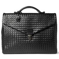 Cheap Western Style Woven Nappa Leather Mens Leather Briefcase Bag , Inside Laptop Pocket wholesale