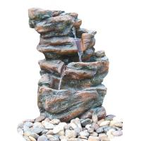 Buy cheap Customized Size Outdoor Stone Fountains , Rock Garden Fountain In Grey Color from wholesalers