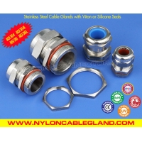 Cheap NPT Type IP68 Waterproof Metallic Stainless Steel Cable Glands with Viton (Silicone) Seals wholesale