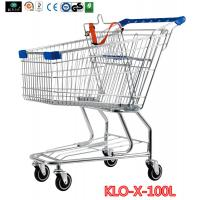 Cheap Portable Metal Rolling Grocery Supermarket Shopping Trolley Carts Zinc Plated wholesale