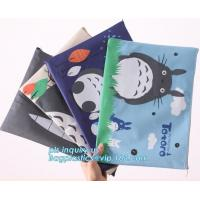 Cheap Stationery A4 Paper Waterproof Office Zipper File Bag, Office Stationery Bright Colors OEM File Bag Pocket Clear PVC Bag wholesale