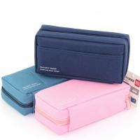 Cheap Canvas Multi - compartments Storage Stationery Student Pencil Pouches wholesale