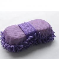 Cheap Microfiber Car Wash Sponge With Mesh And Wrist Band Chenille Car Wash Sponge Pad wholesale