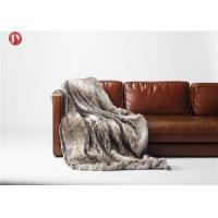 Cheap Soft classic Gray Faux Fur Blanket Chinchilla Stripes Throw Winter OEM/ODM Accepted wholesale