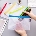 Cheap Clear Mesh Grid Reusable Ziplock Bags / Zipper File Bags For Office Supplies wholesale