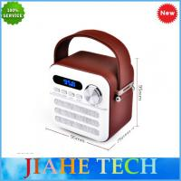 Cheap Hot sale Leather covered portable retro wooden fm radio with bluetooth TF/AUX/Mini USB wholesale