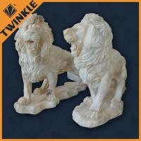 Cheap Natural Stone Carved Marble Sculpture With Double Lion Statues , Custom wholesale