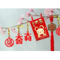 Cheap Red Chinese Characters 3mm Thick Felt Hanging Ornaments wholesale