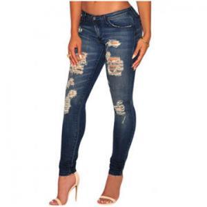 Cheap Dark sandblast wash denim destroyed skinny jeans,made of 85%cotton +10%Polyester+5%Elastane wholesale