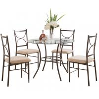 China 5 Piece Metal & Glass Round Kitchen Dinette Dining Table & 4 Side Chairs Set on sale