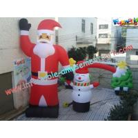 Cheap UV-Treated PVC , Coated Nylon Inflatable Christmas Decorations Santa Claus For Outdoor wholesale