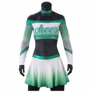 Cheap Girls Green Competition Rhinestones Cheerleading Uniforms With Mesh Fabric wholesale