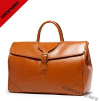 Cheap Brown Smooth Genuine Cow Leather Duffel bag Custom For Mens Traveling wholesale