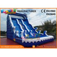Cheap Fire Retardant Outdoor Inflatable Water Slides / Double Lane Slip And Slide wholesale