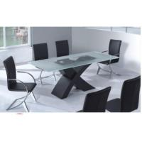 China X shape base 6 seater glass top dining table T026 on sale