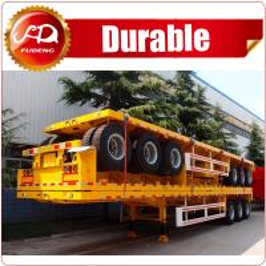 Cheap Hot Sale Tri-axle 20ft 40ft flatbed trailer , 40 ton flatbed semi trailer , flatbed trailer with container locks wholesale