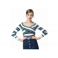 Cheap Sexy Lady Cozy Knit Sweater Long Sleeve V Collar Pullover With Striped Pattern wholesale