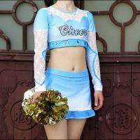 Cheap Cool Custom Crystal Soft Cheerleader Costume Uniforms With Mesh And Lace Fabric wholesale