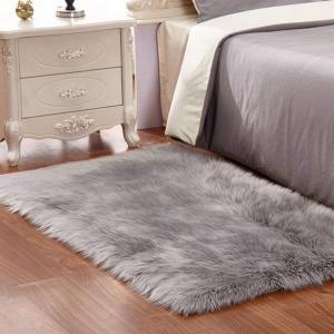 Cheap Grey White Plush Faux Fur Rug Shag Area Rug Nursery Room Carpet Christ wholesale