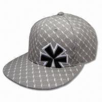 Cheap 6 Panel Baseball Cap with Flat Peak without Closure on Back, Made of 100% Cotton Material wholesale