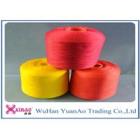 Cheap High Tenacity Dyed 100 Polyester Spun Yarn / 100% Polyester Colored Thread Yellow Red Green wholesale