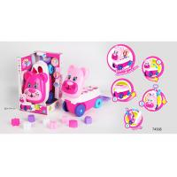 Cheap Pink Building Blocks Educational Toys For Kids Age 3 Years / Animal Trolley Cart wholesale