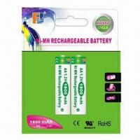 China NiMH AA 1,800mAh Rechargeable Batteries with Rated Voltage of 1.2V on sale
