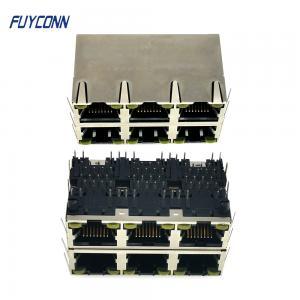 Cheap 2x3 6 Ports Female RJ45 Connector PCB 48 Pin Modular Jack Connector wholesale
