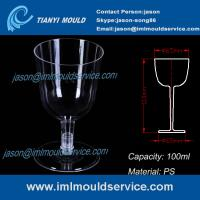 Cheap PS clear disposable plastic red wine / champagne glasses and cups 3.3 oz /100ml mould wholesale