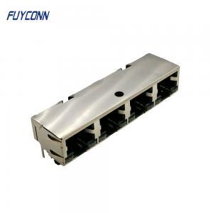 Cheap 1x4 Ports 4*8P 32 Pin Female Socket PCB RJ45 Modular Jack Connector wholesale