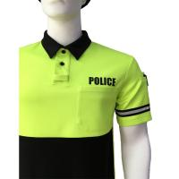 Cheap Fluorescent Yellow Men'S Polyester Polo Shirts , Printed Polo Shirts With Reflective Tape for sale