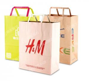 Cheap flat handle paper bags wholesale