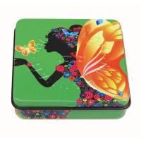 Cheap Square Rectangular Tin Box , packing tin box with hinged lid with plastic inner and mirror wholesale