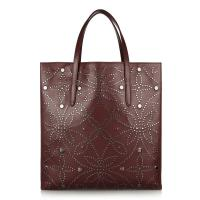 Cheap Genuine Leather Shopper Bag With Small Pouch Bag Inside , No Lining , Sliver Studs  wholesale