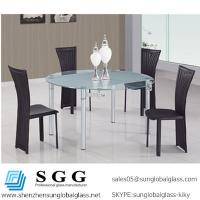 China CE & SGS certificated quality white silk screen Round Glass Top Dining Table on sale