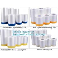 Cheap Outdoor Paper Masking Film / Rice Paper Taped Masking Film Auto Pre Taped wholesale