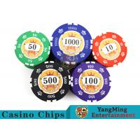 Cheap Sticker Pure Casino Poker Chip Set With UV Logo , Ceramic Poker Chip Sets  wholesale