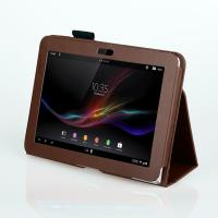Quality Standable PU Sony Tablet Leather Case 10.1Inch Lichi Texture Full Protection for sale