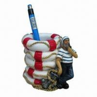 Polyresin Pen Holder, Durable and Fashionable, Eco-friendly, Various Colors are Available