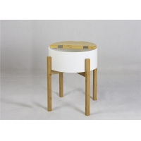 China BSCI 48cm Height Round Wood Coffee Table For Bedroom on sale