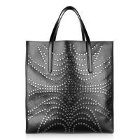 Cheap Beautiful Western Lady Leather Shopper Bag With Studs Inside Small Black Nappa Leather Pouch Bag wholesale